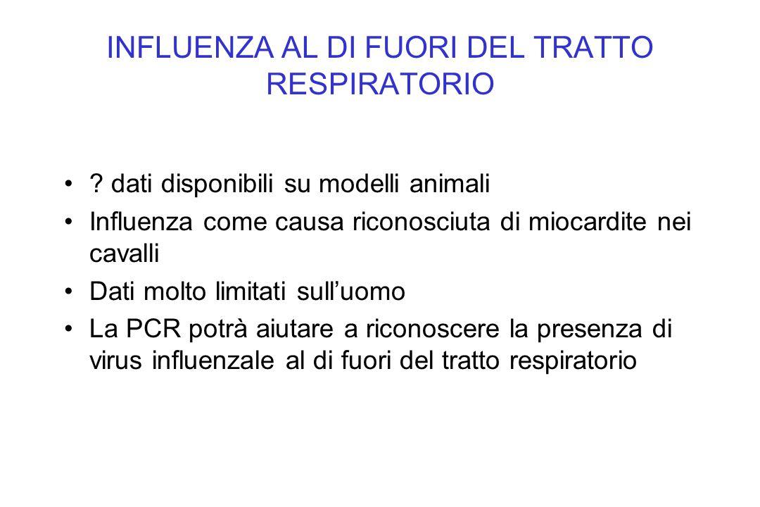 INFLUENZA AL DI FUORI DEL TRATTO RESPIRATORIO ? dati disponibili su modelli animali Influenza come causa riconosciuta di miocardite nei cavalli Dati m