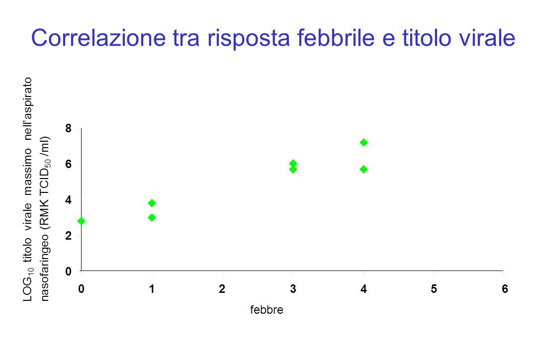 Correlazione tra risposta febbrile e titolo virale 0 2 4 6 8 0123456 febbre LOG 10 titolo virale massimo nell'aspirato nasofaringeo (RMK TCID 50 /ml)