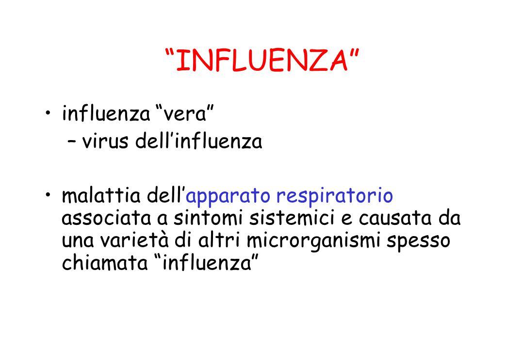 """""""INFLUENZA"""" influenza """"vera"""" –virus dell'influenza malattia dell'apparato respiratorio associata a sintomi sistemici e causata da una varietà di altri"""