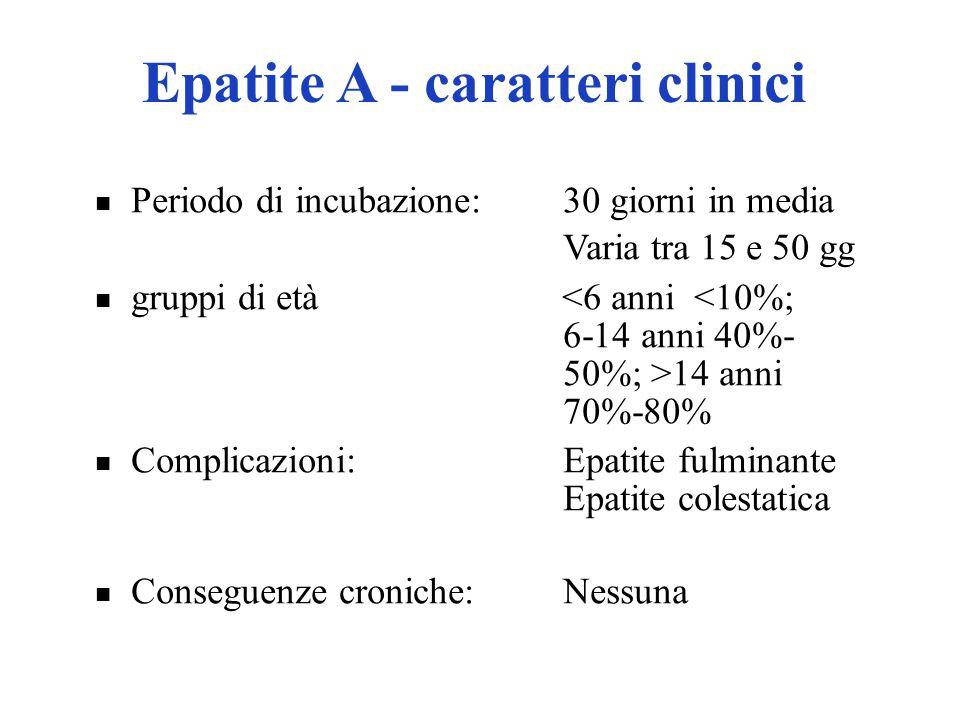 Periodo di incubazione:30 giorni in media Varia tra 15 e 50 gg gruppi di età 14 anni 70%-80% Complicazioni:Epatite fulminante Epatite colestatica Cons