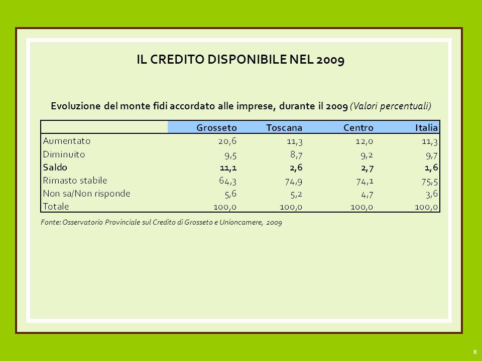 9 IL CREDITO DISPONIBILE NEL 2009 Evoluzione del monte fidi accordato alle imprese di Grosseto, durante il 2009, per settore di attività economica (valori percentuali)