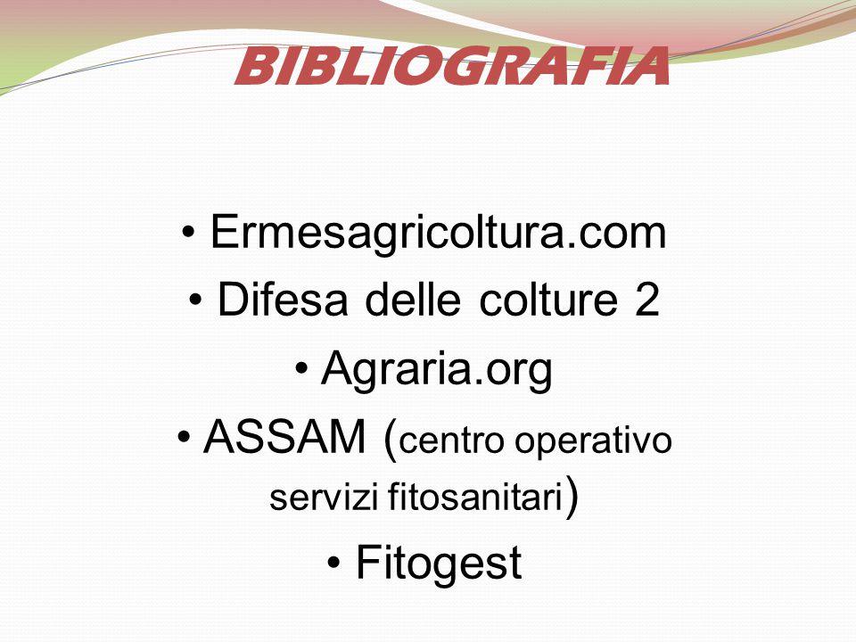 BIBLIOGRAFIA Ermesagricoltura.com Difesa delle colture 2 Agraria.org ASSAM ( centro operativo servizi fitosanitari ) Fitogest