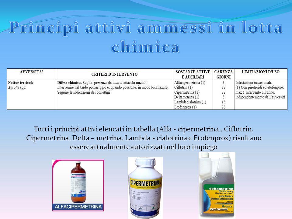 Tutti i principi attivi elencati in tabella (Alfa - cipermetrina, Ciflutrin, Cipermetrina, Delta – metrina, Lambda - cialotrina e Etofenprox) risultan