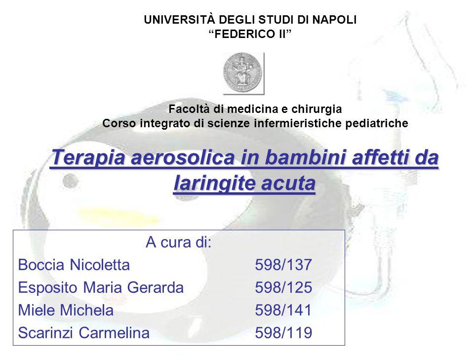 Terapia aerosolica in bambini affetti da laringite acuta A cura di: Boccia Nicoletta598/137 Esposito Maria Gerarda598/125 Miele Michela598/141 Scarinz