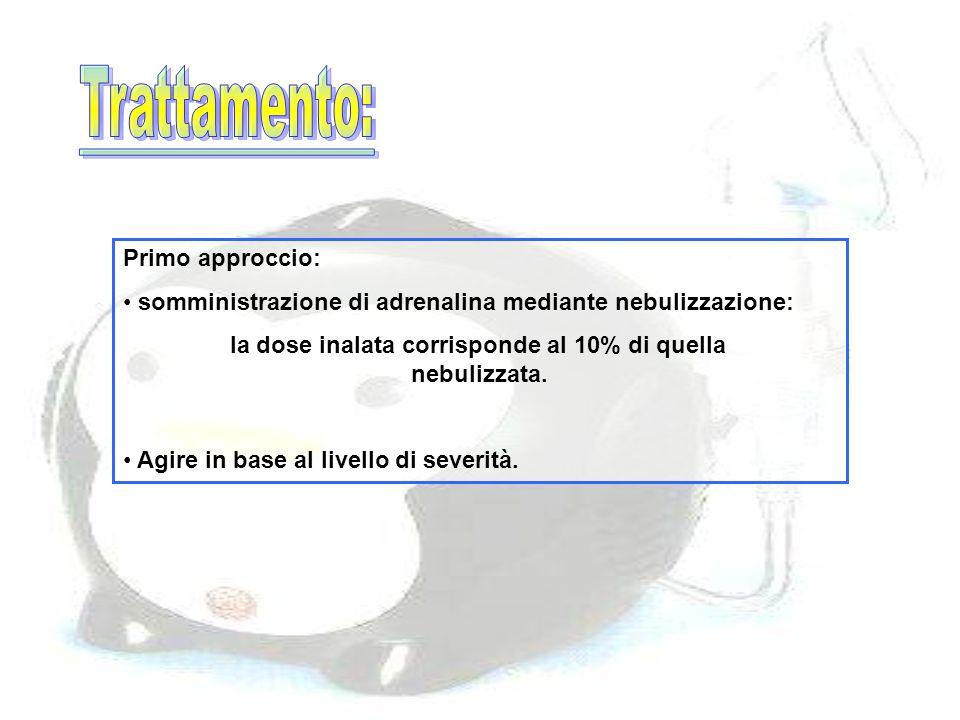 Primo approccio: somministrazione di adrenalina mediante nebulizzazione: la dose inalata corrisponde al 10% di quella nebulizzata. Agire in base al li