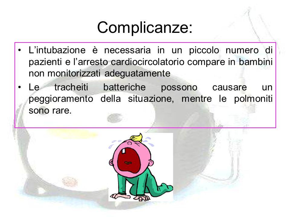 Complicanze: L'intubazione è necessaria in un piccolo numero di pazienti e l'arresto cardiocircolatorio compare in bambini non monitorizzati adeguatam