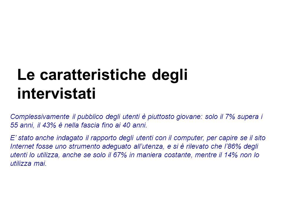 Le caratteristiche degli intervistati Complessivamente il pubblico degli utenti è piuttosto giovane: solo il 7% supera i 55 anni, il 43% è nella fascia fino ai 40 anni.