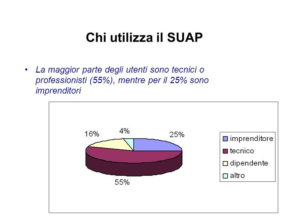 Chi utilizza il SUAP La maggior parte degli utenti sono tecnici o professionisti (55%), mentre per il 25% sono imprenditori