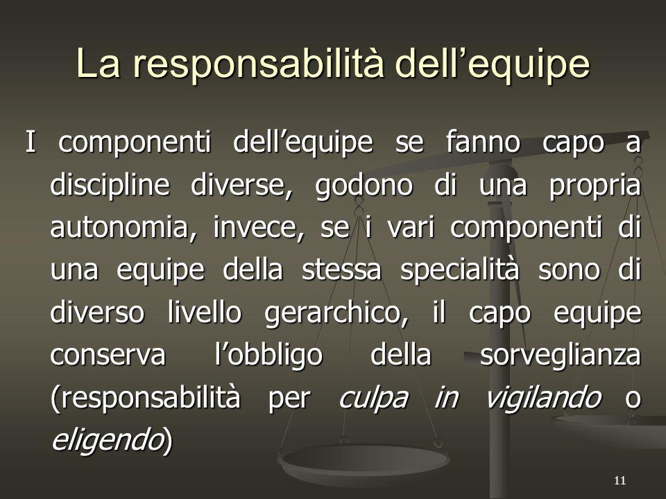 11 La responsabilità dell'equipe I componenti dell'equipe se fanno capo a discipline diverse, godono di una propria autonomia, invece, se i vari compo