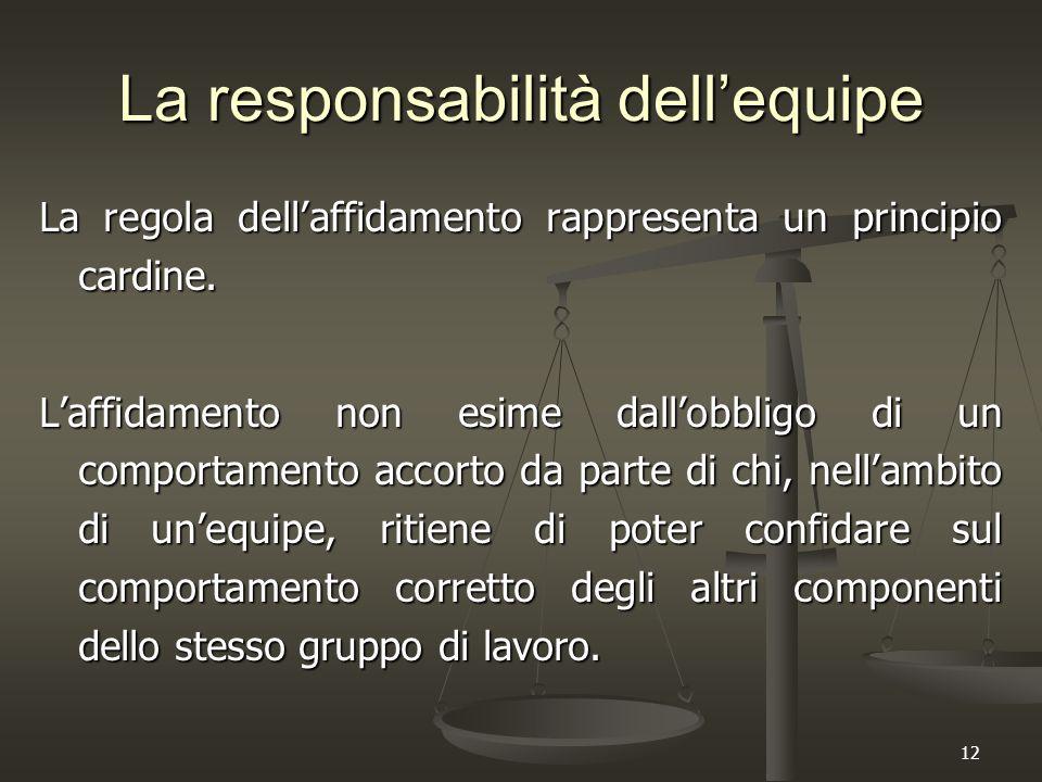 12 La responsabilità dell'equipe La regola dell'affidamento rappresenta un principio cardine. L'affidamento non esime dall'obbligo di un comportamento