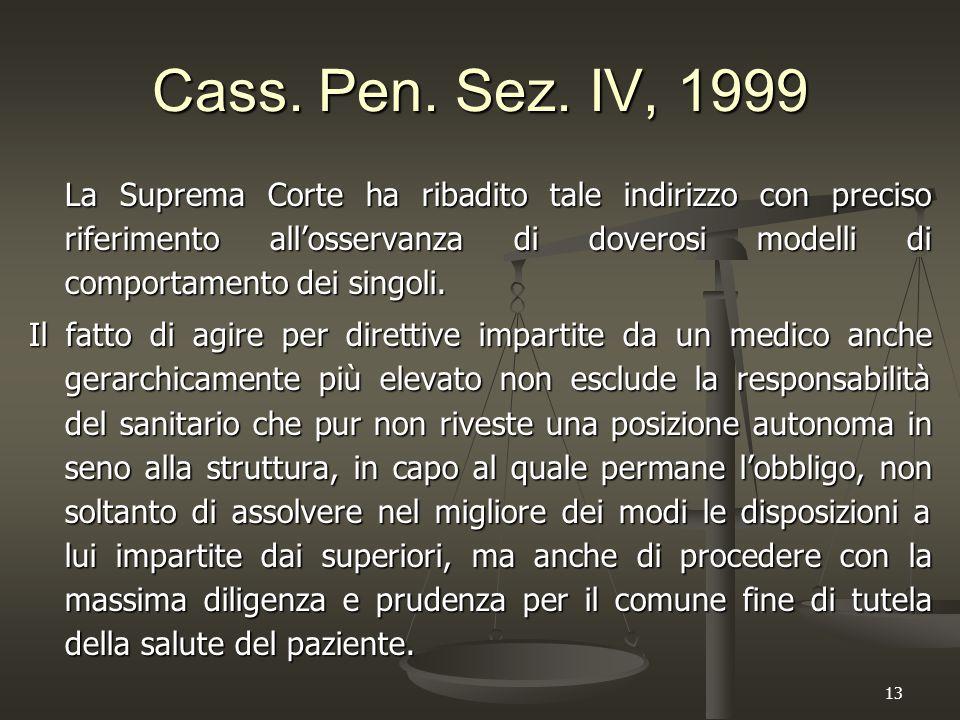13 Cass. Pen. Sez. IV, 1999 La Suprema Corte ha ribadito tale indirizzo con preciso riferimento all'osservanza di doverosi modelli di comportamento de