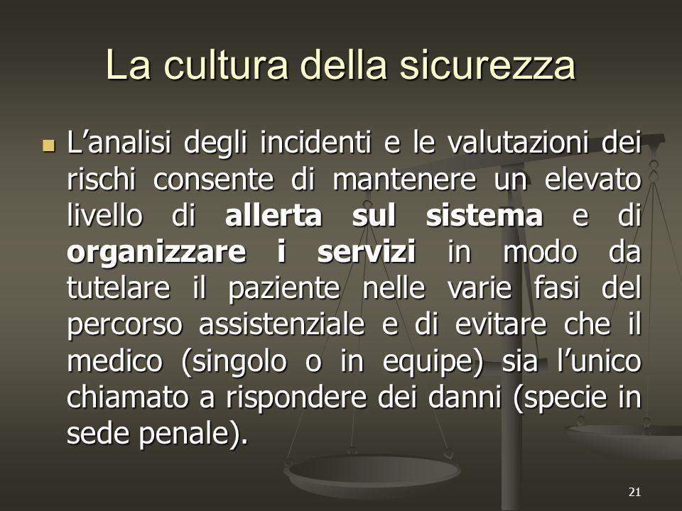 21 La cultura della sicurezza L'analisi degli incidenti e le valutazioni dei rischi consente di mantenere un elevato livello di allerta sul sistema e