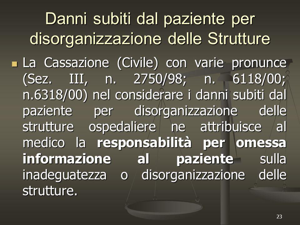 23 Danni subiti dal paziente per disorganizzazione delle Strutture La Cassazione (Civile) con varie pronunce (Sez. III, n. 2750/98; n. 6118/00; n.6318