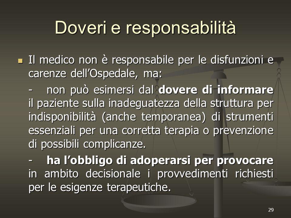 29 Doveri e responsabilità Il medico non è responsabile per le disfunzioni e carenze dell'Ospedale, ma: Il medico non è responsabile per le disfunzion