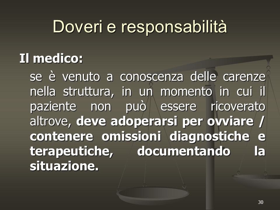 30 Doveri e responsabilità Il medico: se è venuto a conoscenza delle carenze nella struttura, in un momento in cui il paziente non può essere ricovera