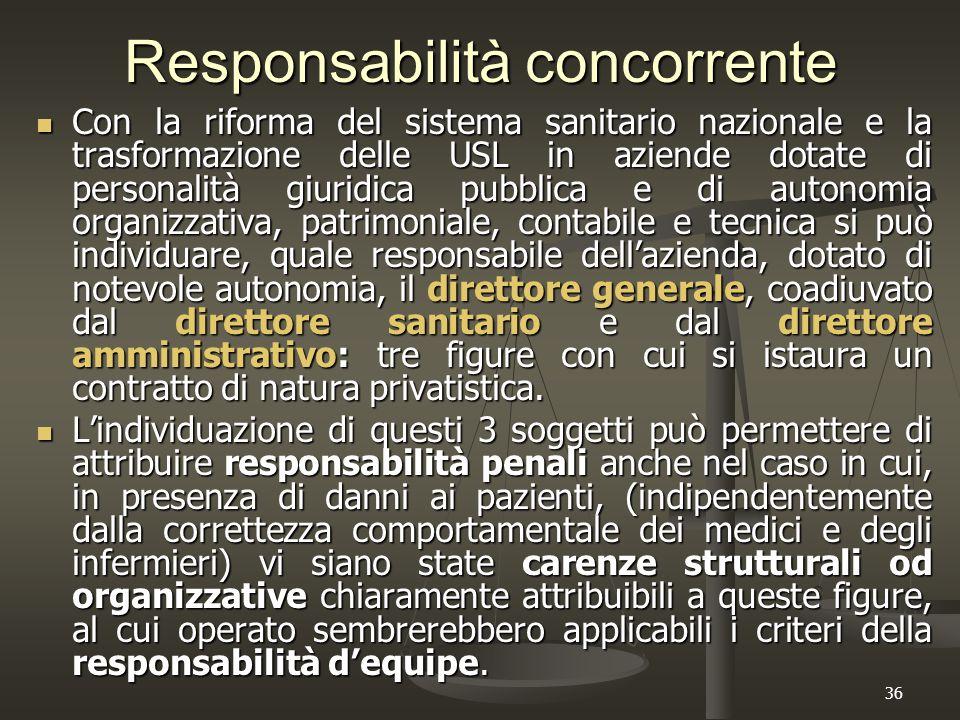 36 Responsabilità concorrente Con la riforma del sistema sanitario nazionale e la trasformazione delle USL in aziende dotate di personalità giuridica