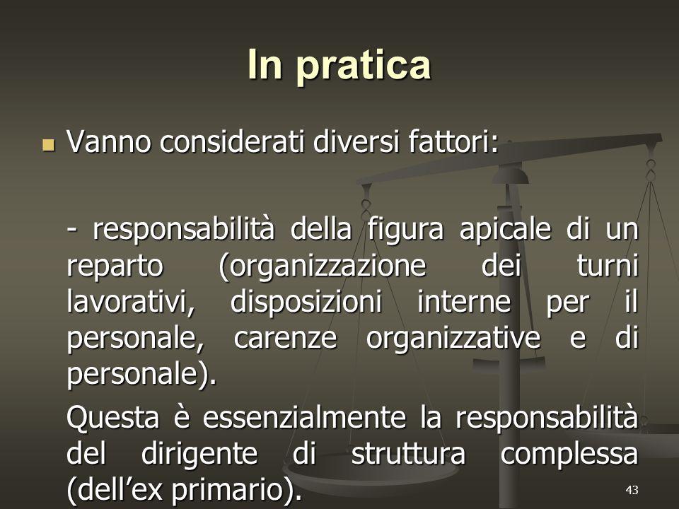 43 In pratica Vanno considerati diversi fattori: Vanno considerati diversi fattori: - responsabilità della figura apicale di un reparto (organizzazion