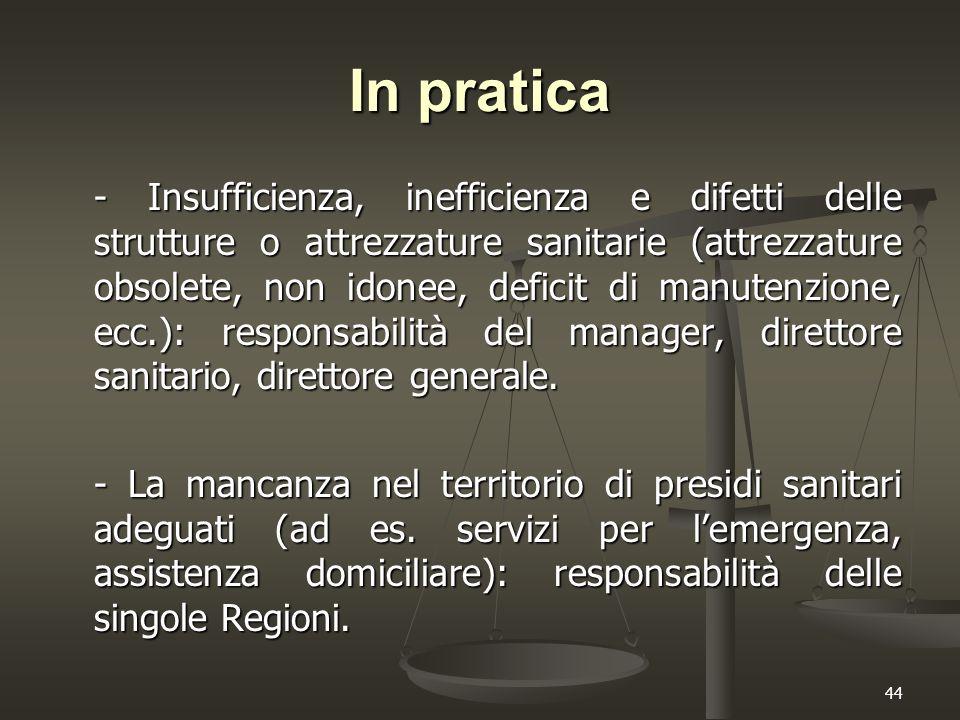 44 In pratica - Insufficienza, inefficienza e difetti delle strutture o attrezzature sanitarie (attrezzature obsolete, non idonee, deficit di manutenz