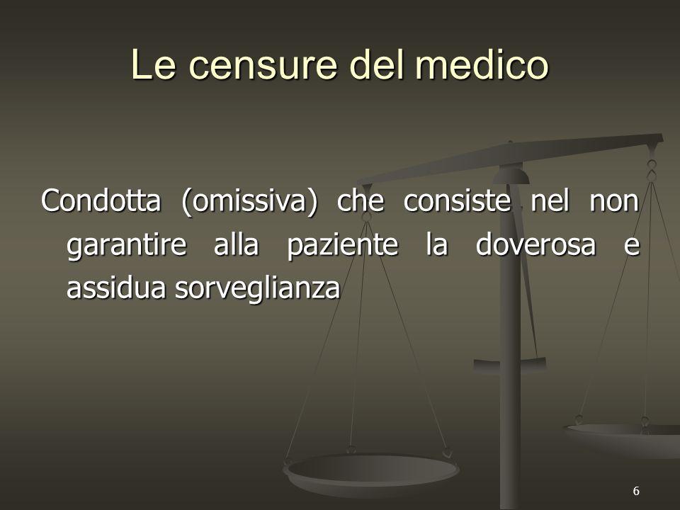 6 Le censure del medico Condotta (omissiva) che consiste nel non garantire alla paziente la doverosa e assidua sorveglianza