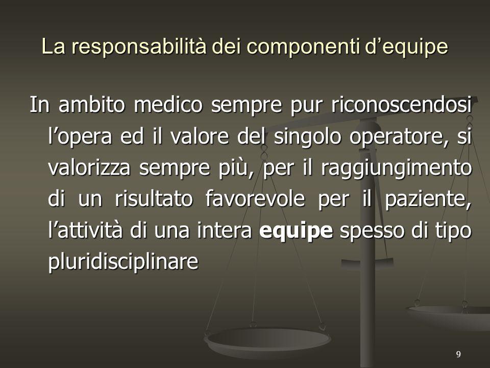 9 La responsabilità dei componenti d'equipe In ambito medico sempre pur riconoscendosi l'opera ed il valore del singolo operatore, si valorizza sempre più, per il raggiungimento di un risultato favorevole per il paziente, l'attività di una intera equipe spesso di tipo pluridisciplinare
