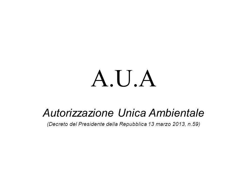 A.U.A Autorizzazione Unica Ambientale (Decreto del Presidente della Repubblica 13 marzo 2013, n.59)