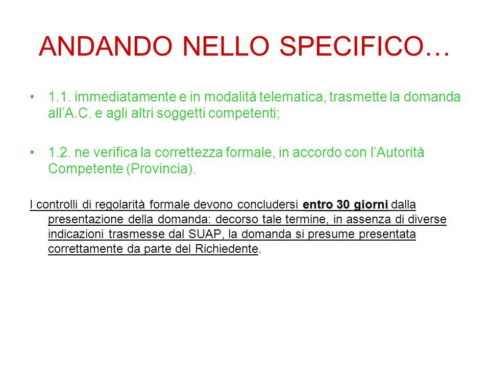ANDANDO NELLO SPECIFICO… 1.1.