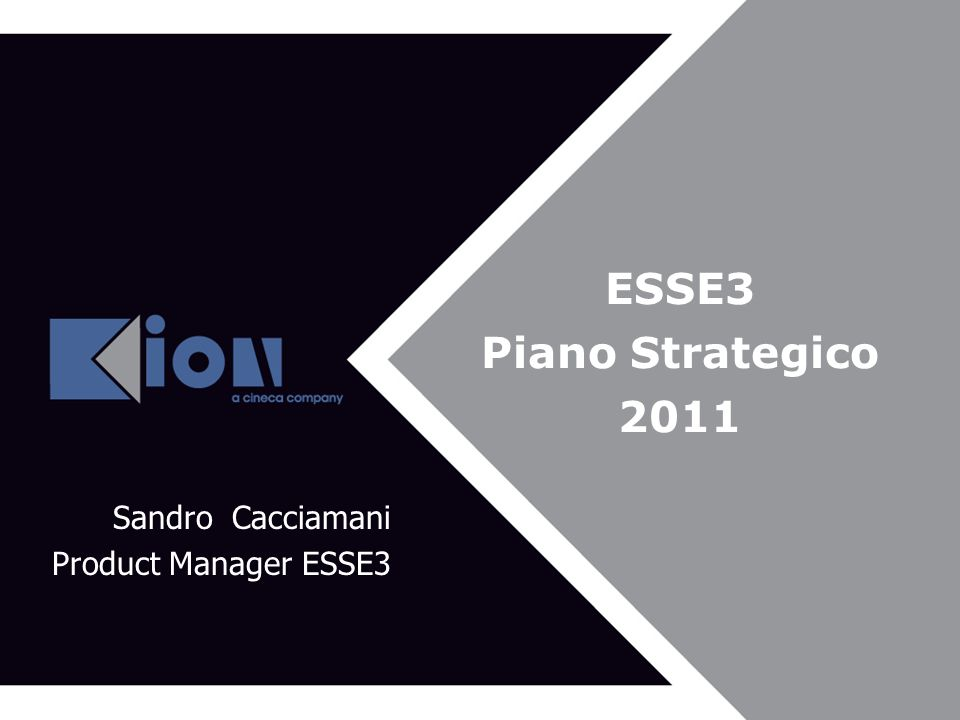 ESSE3 Piano Strategico 2011 Sandro Cacciamani Product Manager ESSE3