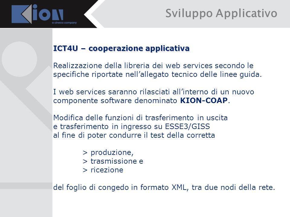 Sviluppo Applicativo ICT4U – cooperazione applicativa Realizzazione della libreria dei web services secondo le specifiche riportate nell'allegato tecnico delle linee guida.