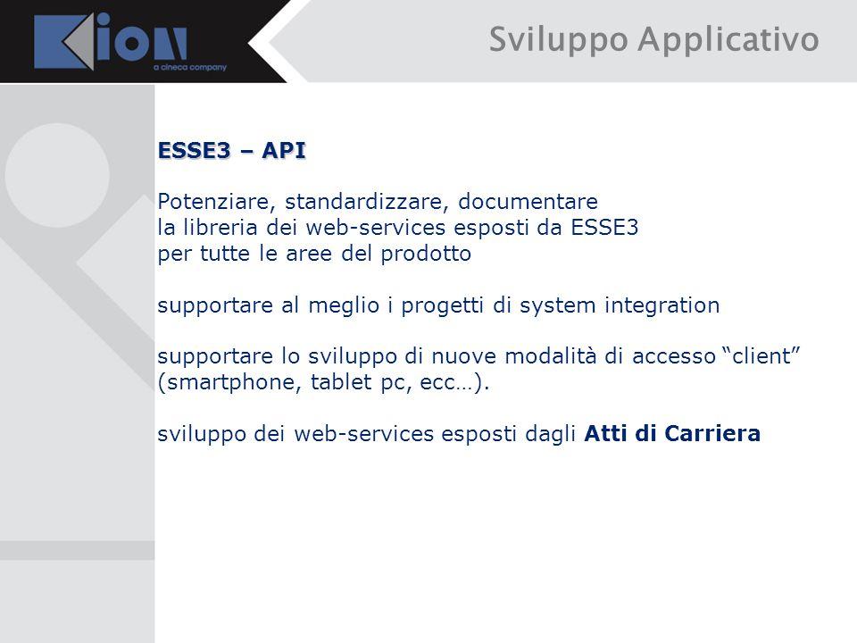 Sviluppo Applicativo ESSE3 – API Potenziare, standardizzare, documentare la libreria dei web-services esposti da ESSE3 per tutte le aree del prodotto supportare al meglio i progetti di system integration supportare lo sviluppo di nuove modalità di accesso client (smartphone, tablet pc, ecc…).