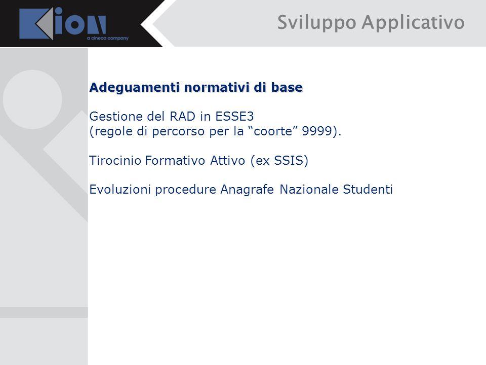 Sviluppo Applicativo Adeguamenti normativi di base Gestione del RAD in ESSE3 (regole di percorso per la coorte 9999).