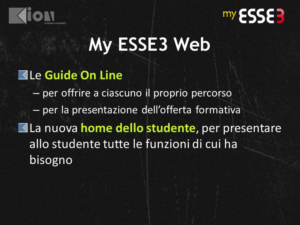 My ESSE3 Web Le Guide On Line – per offrire a ciascuno il proprio percorso – per la presentazione dell'offerta formativa La nuova home dello studente,