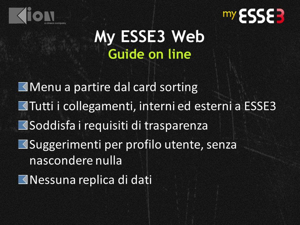 My ESSE3 Web Guide on line Menu a partire dal card sorting Tutti i collegamenti, interni ed esterni a ESSE3 Soddisfa i requisiti di trasparenza Sugger