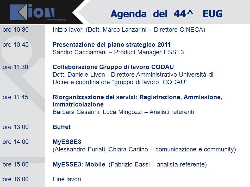 Agenda del 44^ EUG ore 10.30Inizio lavori (Dott. Marco Lanzarini – Direttore CINECA) ore 10.45 Presentazione del piano strategico 2011 Sandro Cacciama