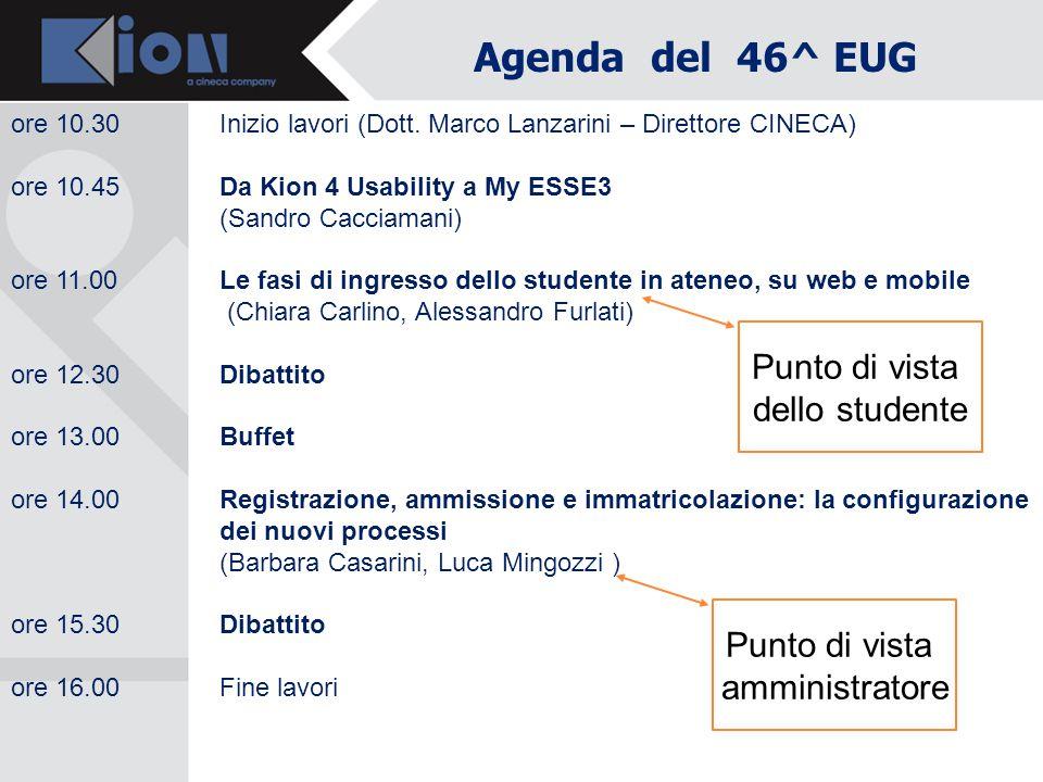 Agenda del 46^ EUG ore 10.30Inizio lavori (Dott. Marco Lanzarini – Direttore CINECA) ore 10.45 Da Kion 4 Usability a My ESSE3 (Sandro Cacciamani) ore