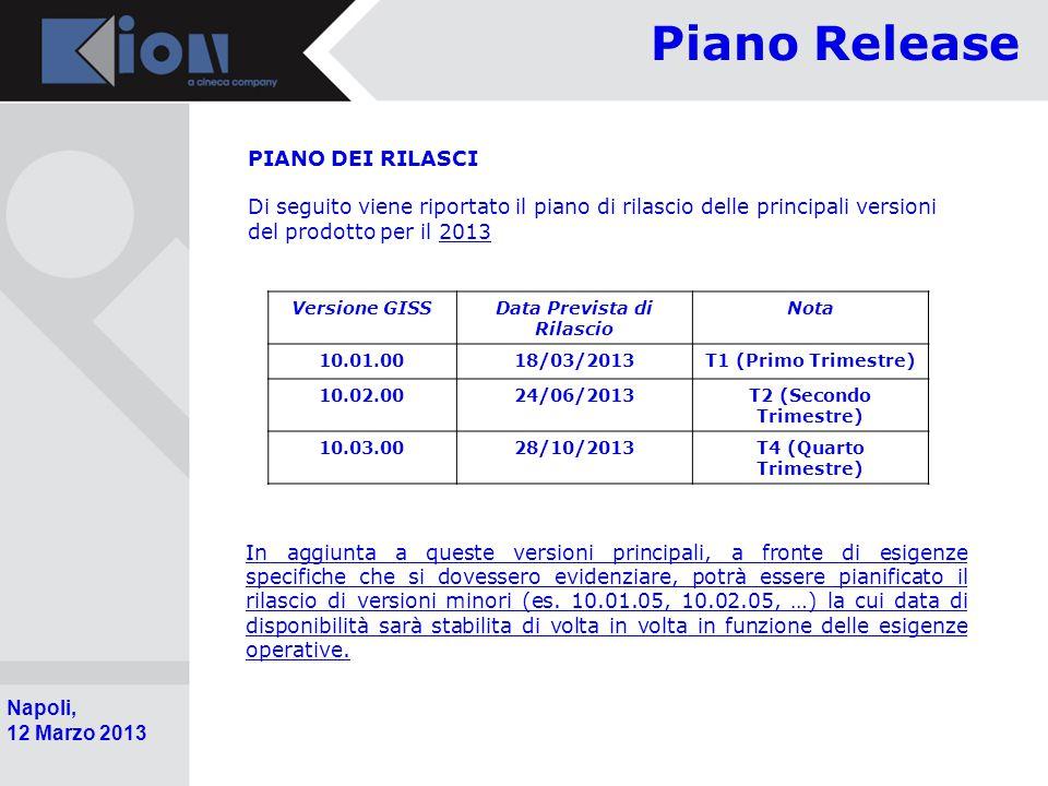 Pollenzo (Bra) 11 Ottobre 2006 Napoli, 12 Marzo 2013 Piano Release PIANO DEI RILASCI Di seguito viene riportato il piano di rilascio delle principali versioni del prodotto per il 2013 Versione GISSData Prevista di Rilascio Nota 10.01.0018/03/2013T1 (Primo Trimestre) 10.02.0024/06/2013T2 (Secondo Trimestre) 10.03.0028/10/2013T4 (Quarto Trimestre) In aggiunta a queste versioni principali, a fronte di esigenze specifiche che si dovessero evidenziare, potrà essere pianificato il rilascio di versioni minori (es.