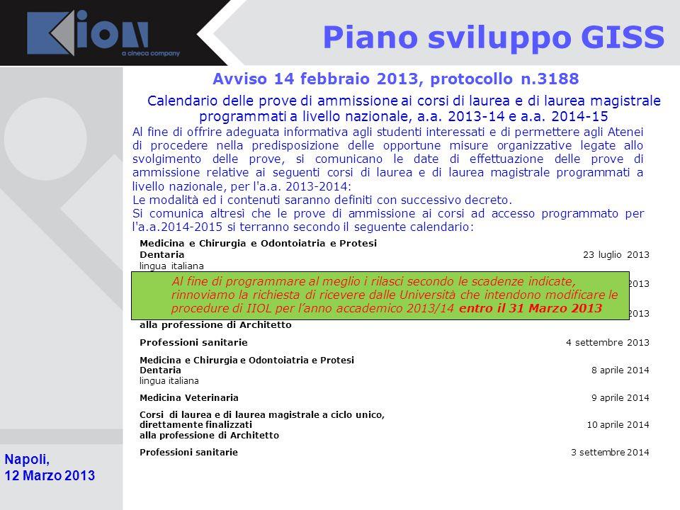 Pollenzo (Bra) 11 Ottobre 2006 Napoli, 12 Marzo 2013 Piano sviluppo GISS Avviso 14 febbraio 2013, protocollo n.3188 Calendario delle prove di ammissione ai corsi di laurea e di laurea magistrale programmati a livello nazionale, a.a.