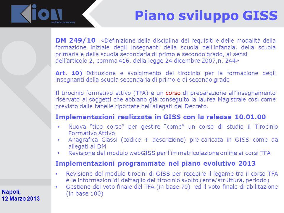 Pollenzo (Bra) 11 Ottobre 2006 Napoli, 12 Marzo 2013 Piano sviluppo GISS DM 249/10 «Definizione della disciplina dei requisiti e delle modalità della