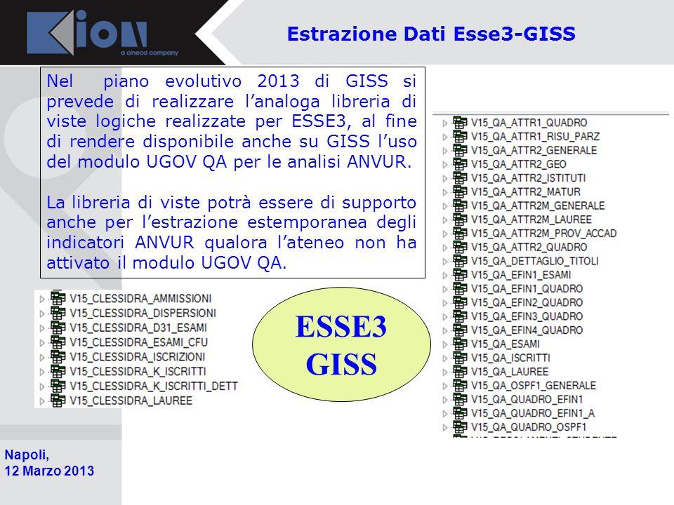 Pollenzo (Bra) 11 Ottobre 2006 Napoli, 12 Marzo 2013 ESSE3 GISS Estrazione Dati Esse3-GISS Nel piano evolutivo 2013 di GISS si prevede di realizzare l'analoga libreria di viste logiche realizzate per ESSE3, al fine di rendere disponibile anche su GISS l'uso del modulo UGOV QA per le analisi ANVUR.