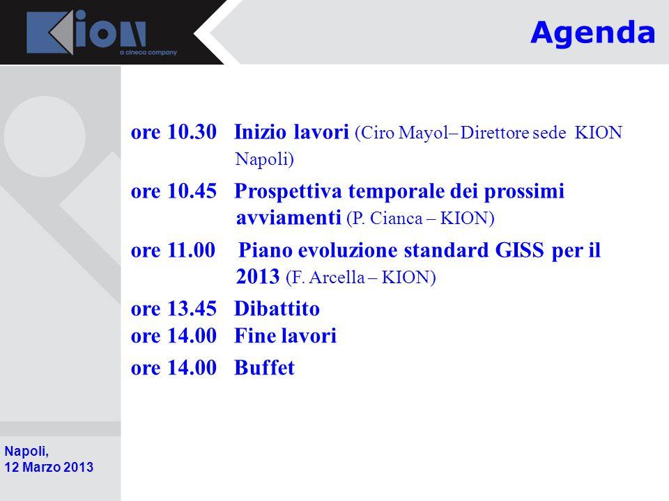 Pollenzo (Bra) 11 Ottobre 2006 Napoli, 12 Marzo 2013 ore 10.30 Inizio lavori (Ciro Mayol– Direttore sede KION Napoli) ore 10.45 Prospettiva temporale dei prossimi avviamenti (P.