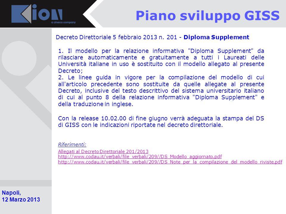 Pollenzo (Bra) 11 Ottobre 2006 Napoli, 12 Marzo 2013 Piano sviluppo GISS Decreto Direttoriale 5 febbraio 2013 n.
