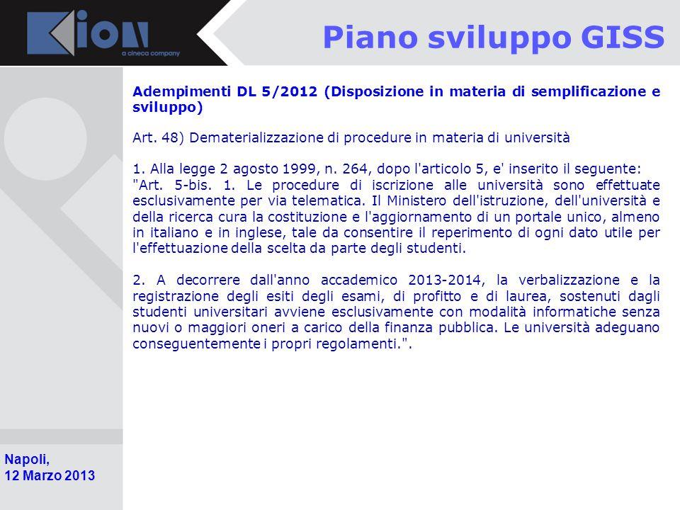 Pollenzo (Bra) 11 Ottobre 2006 Napoli, 12 Marzo 2013 Piano sviluppo GISS Adempimenti DL 5/2012 (Disposizione in materia di semplificazione e sviluppo) Art.