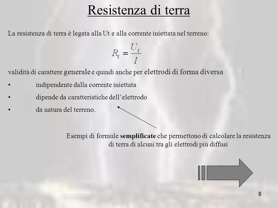 8 Resistenza di terra La resistenza di terra è legata alla Ut e alla corrente iniettata nel terreno: validità di carattere generale e quindi anche per