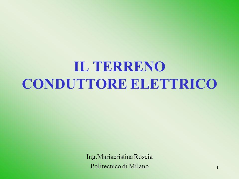 1 IL TERRENO CONDUTTORE ELETTRICO Ing.Mariacristina Roscia Politecnico di Milano
