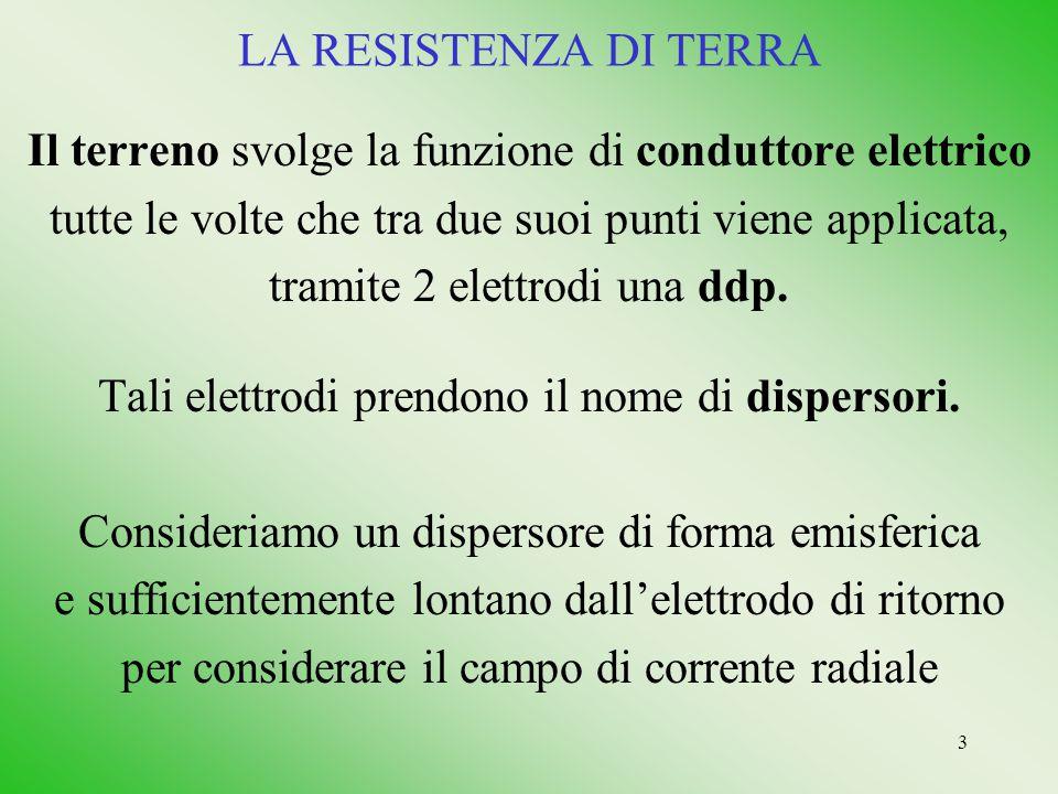 3 LA RESISTENZA DI TERRA Il terreno svolge la funzione di conduttore elettrico tutte le volte che tra due suoi punti viene applicata, tramite 2 elettr