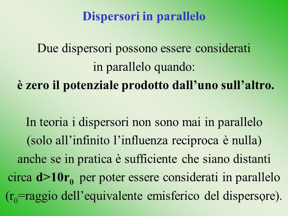 7 Dispersori in parallelo Due dispersori possono essere considerati in parallelo quando: è zero il potenziale prodotto dall'uno sull'altro. In teoria