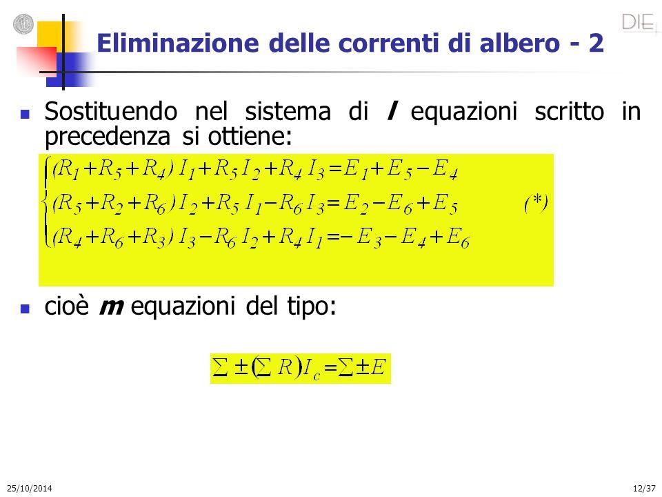 25/10/2014 12/37 Eliminazione delle correnti di albero - 2 Sostituendo nel sistema di l equazioni scritto in precedenza si ottiene: cioè m equazioni d