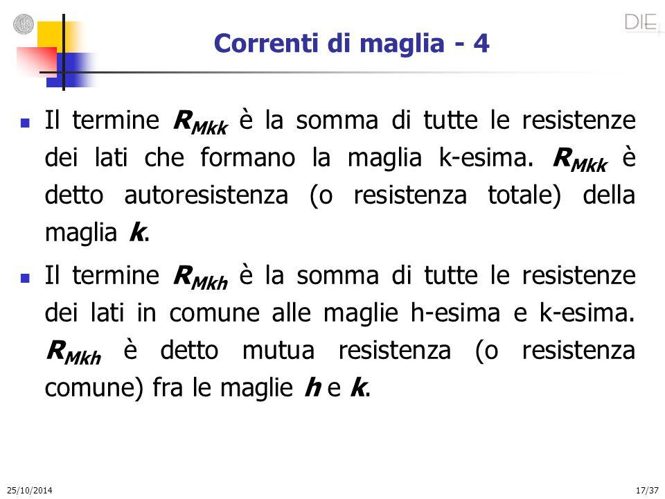 25/10/2014 17/37 Correnti di maglia - 4 Il termine R Mkk è la somma di tutte le resistenze dei lati che formano la maglia k-esima. R Mkk è detto autor