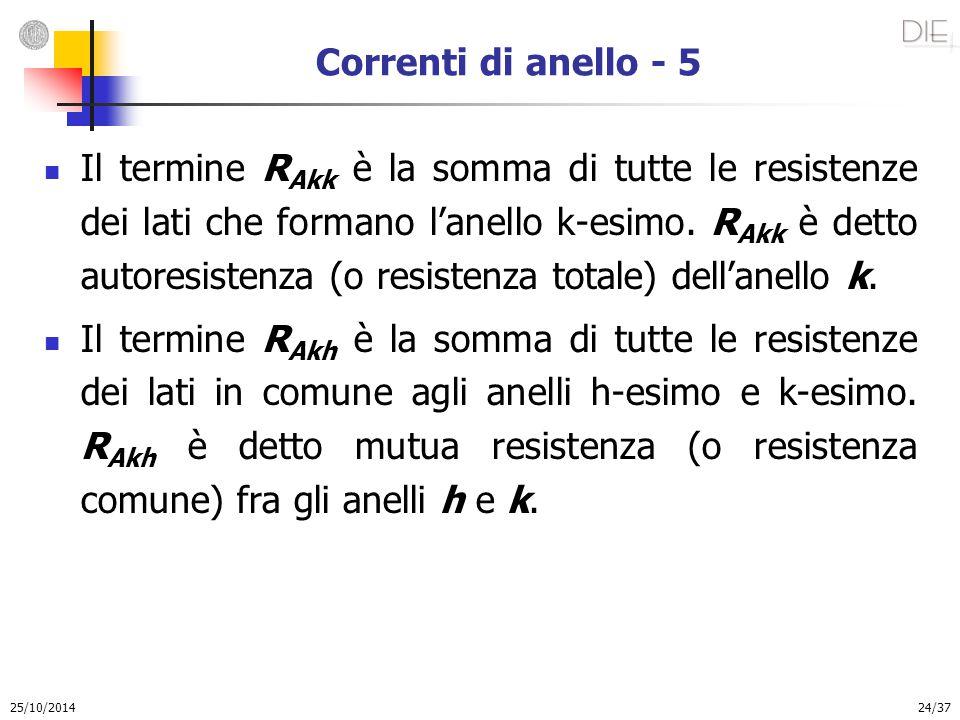 25/10/2014 24/37 Correnti di anello - 5 Il termine R Akk è la somma di tutte le resistenze dei lati che formano l'anello k-esimo. R Akk è detto autore