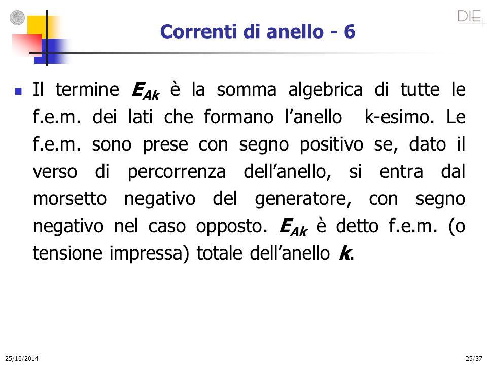25/10/2014 25/37 Correnti di anello - 6 Il termine E Ak è la somma algebrica di tutte le f.e.m. dei lati che formano l'anello k-esimo. Le f.e.m. sono