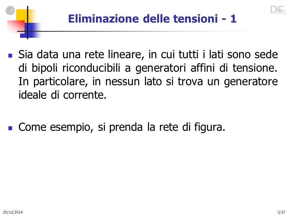 25/10/2014 3/37 Eliminazione delle tensioni - 1 Sia data una rete lineare, in cui tutti i lati sono sede di bipoli riconducibili a generatori affini d